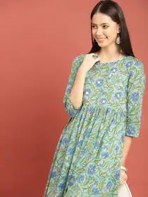 Taavi Women Green & Blue Bagru Hand Block Print A-Line Kurta with Gathers & Mirror Work