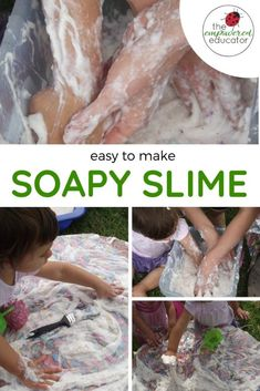 How To Produce Elementary School Much More Enjoyment Make Your Own Soapy Slime For Toddler Sensory Play - An Easy Sensory And Messy Play Activity For Toddlers And Preschoolers. A Low Cost Activity For Daycare And Early Years Educators. Sensory Bins, Sensory Activities, Infant Activities, Play Activity, Activities For Kids, Sensory Table, Sensory Play Recipes, Activity Bags, Indoor Activities