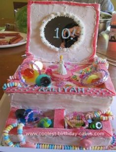 Homemade Jewelry Box Birthday Cake: I made this cake for my granddaughter's 10th birthday party. The cake is 2 chocolate 9x13 cakes, leveled and stacked with strawberry jam in the middle