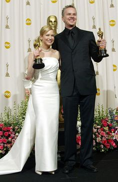 "2003 Academy Award Winners - Rene Zellweger - Best Supporting Actress Oscar for ""Cold Mountain"" and Tim Robbins - Best Supporting Actor Oscar for ""Mystic River"""