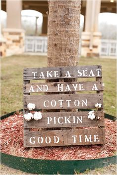 Perfect sign for a cotton themed wedding (http://www.7centerpieces.com/victoria-wedding-simply-love-photography/) | Simply Love Wedding Photography (http://simplylovephotography.com/)