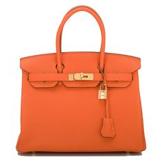 Hermes Birkin Orange H Togo 30cm Gold Hardware Bag #hermes