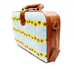 Brown Square Leather Bag Sunflower Cotton by CoruscateLeatherBag, $115.00
