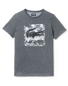 abd6196be9f Details about LACOSTE MEN S SPORT TENNIS PRINT TECHNICAL JERSEY T-SHIRT  Grey TH8125-51