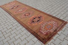 "3'7"" x 11'9"" Anatolia Vintage Turkish Runner Hand Knotted Wool Kars Wide Runner Rug 44"" x 143"" FREE shipping to USA"