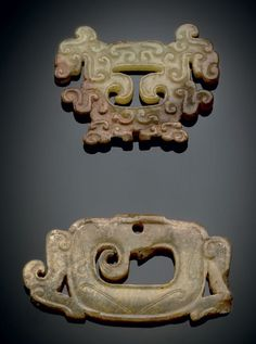 TWO PALE OLIVE JADE OPENWORK ORNAMENTS - EASTERN ZHOU DYNASTY, 5TH-3RD CENTURY BC
