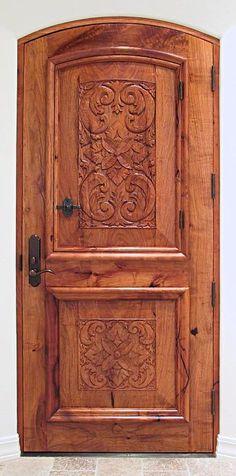 Carved mesquite door, interior view