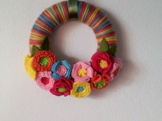 Wreath. Yarn wreath decorated with handmade by MoCactus on Etsy