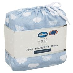 Silentnight Cot Bed Printed Fitted Sheets 2pk. make sure your baby sleeps softly with these cosy fitted sheets from the Silentnight Nursery Collection