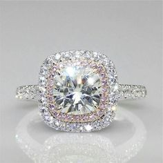 Certified 3.35Ct White Round Cut Diamond Halo Engagement Ring in 14K White Gold #SKJewels #SolitairewithAccents