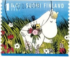 Finland 2007 stamp with Moomin picking flowers Postmarked in 2008 on a multiview Suomi-Finland postcards. Tove Jansson, Mail Art, Stamp Collecting, Postage Stamps, Fairy Tales, Poster, Artsy, Cartoon, Creatures