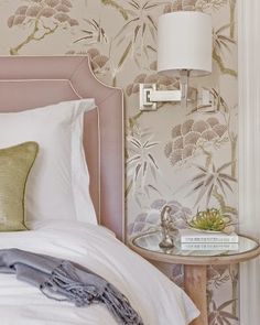 great design choice on the headboard and wallpaper. South Shore Decorating Blog: 40 Bedroom Favorites