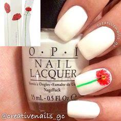 simple yet elegant single poppy flower accent nail #fav