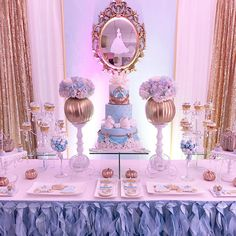 quinceanera party – If your reception doesn't include dinner, consider eschewing furniture in lieu of renting multiple tables. Comfortable seating… - New Site Cinderella Sweet 16, Cinderella Theme, Cinderella Birthday, Cinderella Wedding, Cinderella Centerpiece, Cinderella Decorations, Princess Sweet 16, Cinderella Cakes, Cinderella Disney