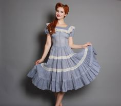 40s Blue GINGHAM Cotton PATIO DRESS / Full Circle by LuckyDryGoods, $130.00