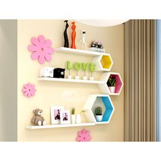 Cheap Wall Shelves Wooden Decorative Modern Hexagon Bedroom The cheap wall shelves are made of wood material, surface has painting finish that keeps wall shelves modern and exquisite look. Decorations are not included. Shown in multi-color/purple. Kids Wall Shelves, Wooden Wall Shelves, Wall Shelf Decor, Shelves In Bedroom, Wall Shelves Design, Wooden Walls, Floating Shelves, Hexagon Wall Shelf, Kids Homework Station