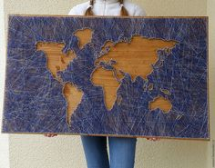 Buy World Map - Combined, painting String Wall Art, Nail String Art, String Crafts, Diy Home Crafts, Arts And Crafts, Arte Linear, String Art Patterns, Feather Crafts, Pin Art