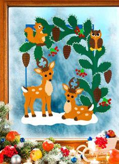 Fensterbild Winterwald im Rahmen Christmas Pictures, Winter, Diy And Crafts, Dinosaur Stuffed Animal, Clip Art, Kids Rugs, Toys, Projects, Animals