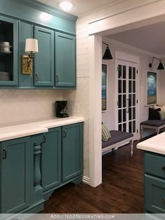 My Finished-For-Now Kitchen: From Kelly Green To Teal (Before & After) - Addicted 2 Decorating® Teal Kitchen Cabinets, Painted Kitchen Island, Painting Kitchen Cabinets, Green Kitchen, Kitchen Colors, Diy Kitchen, Kitchen Ideas, Kitchen Reno, Kitchen Designs