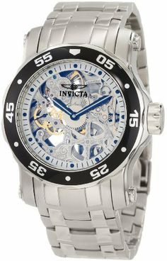 Invicta Men's 10303 Pro Diver Mechanical Silver Tone Skeleton Dial Watch Invicta. Save 80 Off!. $201.99. Flame-fusion crystal; stainless steel case and bracelet. Water-resistant to 50 M (165 feet). Mechanical hand wind movement. 60 second subdial. Silver tone skeleton dial with black hands and hour markers; luminous; unidirectional stainless steel bezel with black ring and silver tone arabic numerals; exhibition case back; additional interchangeable black polyurethane strap included