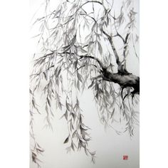 Japanese Ink Painting Japanese art Azian art Sumi-e Suibokuga  Rice Paper Black Large 18x29' Willow - pinned by pin4etsy.com