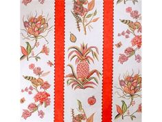 Brunschwig & Fils ANANAS EXOTIQUE COTTON PRINT RED BR-79513.166 - Brunschwig & Fils - Bethpage, NY, BR-79513.166,Brunschwig & Fils,Print,Red/Burgundy,Red,S (Solvent or dry cleaning products),Up The Bolt,France,Botanical/Foliage,Multipurpose,Yes,Brunschwig & Fils,No,ANANAS EXOTIQUE COTTON PRINT RED