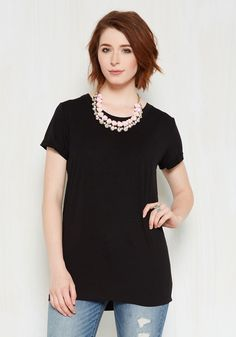 Simplicity on a Saturday Tunic in Black. Whoever said jeans and a tee couldnt look totally stylish has clearly never encountered a gal wearing this black T-shirt! #black #modcloth