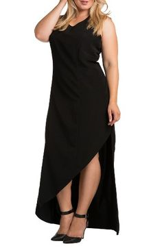 Standards & Practices Artemis Asymmetrical Hem Maxi Dress (Plus Size) at Nordstrom.com. An eye-catching angled hem puts your legs in the spotlight on a curve-skimming V-neck maxi. A sheer back yoke and exposed zip complete the sultry design.
