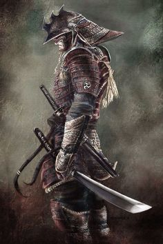 "♂ World martial art Japanese Samurai 侍 Bushidō 武士道 literally ""the way of the warrior"", is a Japanese word for the way of the samurai life, loosely analogous to the concept of chivalry. Kunst Tattoos, Bild Tattoos, Fantasy Warrior, Fantasy Art, Fantasy Samurai, Fantasy Blade, Asia Tattoo, Samurai Warrior Tattoo, Japanese Warrior Tattoo"