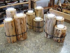 candles in wood with barbed wire : natural and naughty Rustic Crafts, Country Crafts, Wooden Crafts, Rustic Decor, Rustic Wood, Barbed Wire Decor, Barb Wire Crafts, Wood Projects, Woodworking Projects