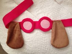 Complete Skyes look with this super cute Goggle Headband with minky Ears made from pink felt and tan minky material Adjustable with velcro - to sit