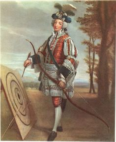 James, fifth Earl of Wemyss, in Archers' uniform, by an unknown artist, c. 1715.  The Royal Company of Archers, who are the Queen's bodyguard in Scotland, were the first organised body to adopt tartan as a uniform.