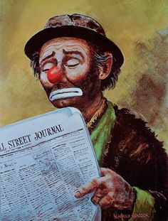 EMMETT KELLY Clown Poster Clown Art Wall Street by WHaroldHancock