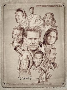 "Jeff Bridges,illustration from the book ""men of Hollywood"". Ryan O'neal, Hollywood Icons, Vintage Hollywood, Rocky Sylvester Stallone, Star Illustration, Cinema Tv, Celebrity Caricatures, Pop Culture Art, Joker And Harley Quinn"