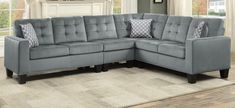 """Homelegance 9957GY-SC 2 pc Winston porter lantana gray fabric reversible sectional sofa set. Sectional measures 84"""" x 107"""" x 35"""" H. Some assembly required."""
