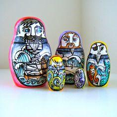 Russian Nesting Dolls Sailors Ceramic Matryoshka by sewZinski,