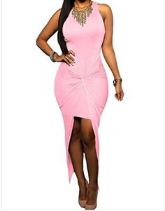 FQHOME Womens Pink Knotted Slit Dress Size M * You can find out more details at the link of the image.