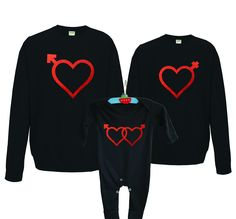 Valentine's day family matching black sweatshirts and baby rompersuit set by MumKnowsBabyGrows on Etsy
