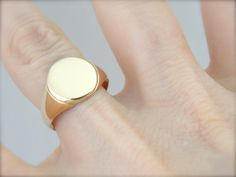 Simple Round Rose Gold Signet Ring for Man or Woman by MSJewelers