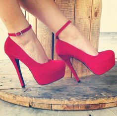 The Queen of Hearts will be wearing these red high heels underneath her dramatic dress. The color red is her signature color, and red is a color of extremes so this is perfect.