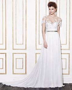 Blue Bridal by Enzoani Gemena The fabric in this style is Chiffon Wedding Dresses Near Me, Blue Bridal, A Day To Remember, Happily Ever After, Tuxedo, Mother Of The Bride, Chiffon, Bridesmaid, Prom