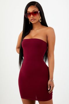 617ebf6ac1 Burgundy Basic Strapless Dress