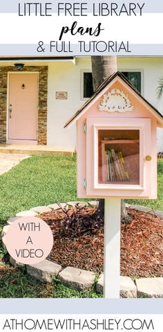 Little Free library plans. Ideas for a DIY book share box. How to build a free little library with an easy design and creative design. How to make a free little library. Little Free Library Plans, Little Free Libraries, Little Library, Dream Library, Garden Projects, Home Projects, Outdoor Projects, Garden Ideas, Creative Design