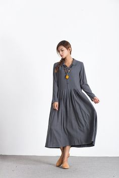 Oversize Linen Cotton #Wine Red Long maxi clothing #plus size ...