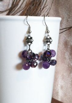 Purple Crystal Bead Chandelier Earrings with by SmockandStone, $15.00