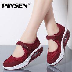 fa83d11ac PINSEN Verano de 2019 de las mujeres de la moda plataforma plana Zapatos de Mujer  Zapatos