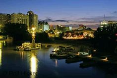 Night view of the Forks and Winnipeg, Manitoba, Canada.