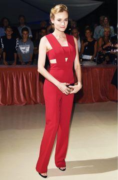 Diane Kruger wears a Cushnie et Ochs red jumpsuit with black heels
