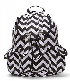 Chevron Print Rucksack Style Backpack - Black White Chevron Backpacks 47e2a69d6745d