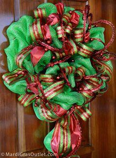 Christmas Deco Mesh Wreath on a Tinsel Ball Work Wreath